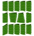 set of beautiful festive green ribbons vector image