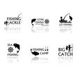 set of fishing symbols vector image