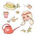 Set of flower girl hats garden tools vector image