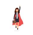 superhero businesswoman in red cloak character vector image