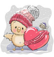 cute cartoon chicken in a knitted cap vector image