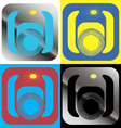 a set of graphical icons with a color camera vector image