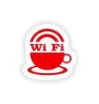 icon sticker realistic design on paper wi-Fi vector image