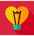 Flat Design Heart Shaped Light Bulb Icon vector image