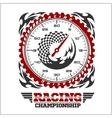 Car racing emblem and championship race badge vector image