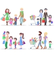 Happy Family Buying Goods and Gifts in Stores vector image