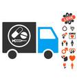 drugstore truck icon with valentine bonus vector image