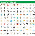 100 army icons set cartoon style vector image