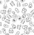 Hand Drawn Padlocks Background Seamless Pattern vector image
