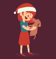 Christmas Girl Standing and Holding her new Puppy vector image