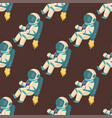astronauts in space seamless pattern vector image