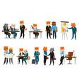 business cat cartoon icons set vector image