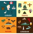 Canadian travel and nature flat icons vector image