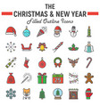 christmas filled outline icon set new year signs vector image