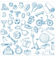 Hand drawn Fitness doodle set vector image