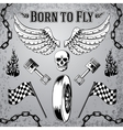 Motorcycle bike grunge design elements vector image