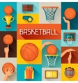 Sports background with basketball icons in flat vector image
