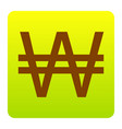won sign brown icon at green-yellow vector image