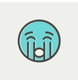 Crying out loud thin line icon vector image