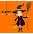 Halloween witch cute girl with broomstick and vector image