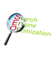 magnifying glass text label search vector image
