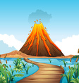 Nature scene with volcano eruption by the lake vector image
