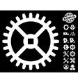Clock Gear Icon with Tools Bonus vector image