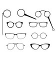 glasses silhouette set frames to modern vector image
