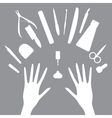 set icons of manicure tools vector image