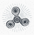 spinner vintage label hand drawn sketch grunge vector image