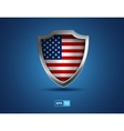 USA flag metal shield on the blue background vector image