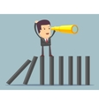 Businessman search in business strategy on domino vector image