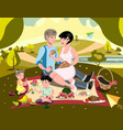family on picnic vector image