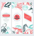 sea creatures - color drawn template banner vector image