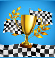golden winner trophy realistic poster vector image