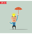 Business cartoon holding umbrella for ind care and vector image