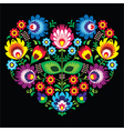 Polish Slavic folk art art heart with flowers vector image vector image