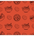 Cute pattern with japanese food vector image