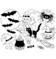 Black and White Witch - Halloween Set vector image