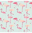 Flamingo Bird Background - Retro seamless pattern vector image