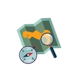 Map Compass And Magnifying Glass vector image