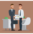Teamwork solution and handshake of two businessman vector image