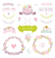 Wedding vintage elements vector image