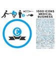 Euro Award Ribbon Icon with 1000 Medical Business vector image