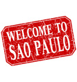 welcome to Sao Paulo red square grunge stamp vector image