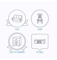 Sofa chair and chest of drawers icons vector image