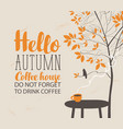 autumn landscape on coffee theme with cup vector image