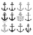 Big set of vintage style anchors isolated on white vector image