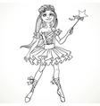 Cute dancing ballerina Fairy black outline for vector image