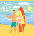 flat of surfing couple showing vector image